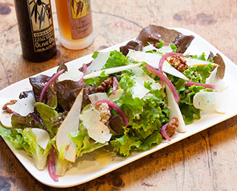 Baby gem lettuce, Pears, Pickled Red Onions, and Candied Walnuts