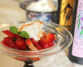 Fig Balsamic Strawberries with Lemon Olive Oil Cream