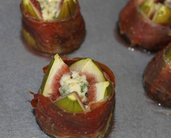 Blue Cheese Stuffed Figs Wrapped in Prosciutto