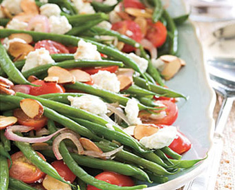 Green Beans with Goat Cheese, Tomatoes & Almonds