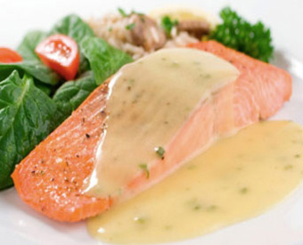 Poached Salmon with Raspberry Beurre Blanc